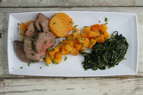 Black-Pepper-Tenderloin-with-Golden Beets and Sauteed Spinach