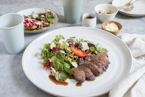 Hanger Steak Fig Balsamic Pan Sauce with Roasted Watercress Salad