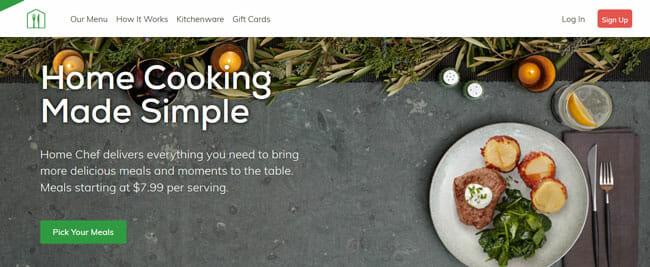 Home Chef screenshoot homepage