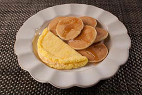 Mini Pancakes and Colby Cheese Omelet
