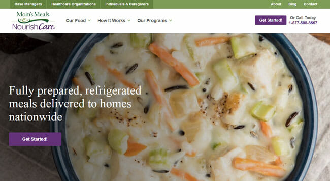 Moms Meals homepage