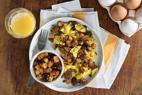 Scrambled Eggs, Andouille Sausage and Potatoes
