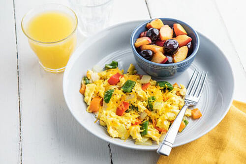 Vegetable Egg Scramble and Peaches with Cherries