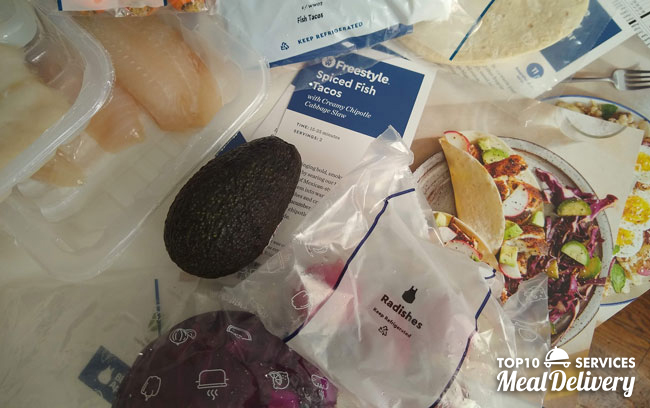 blue apron ingredients on table