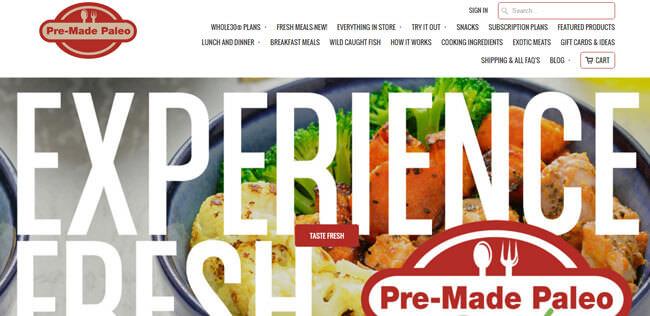 pre made paleo homepage