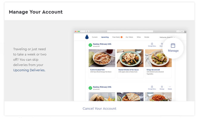 Blue Apron manage your account screen