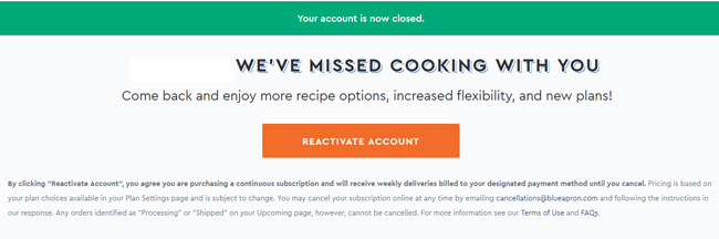 Blue Apron your account is now closed screen