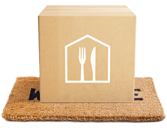 Home-Chef box on white background