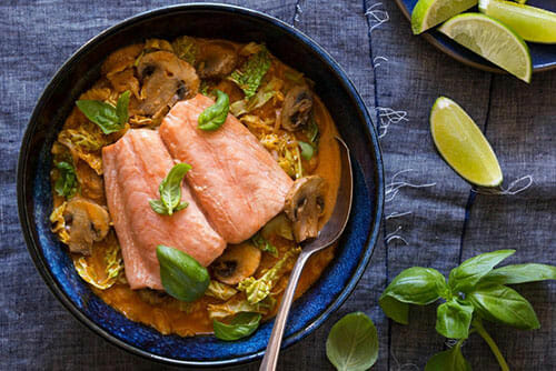 Thai style salmon in spicy red curry