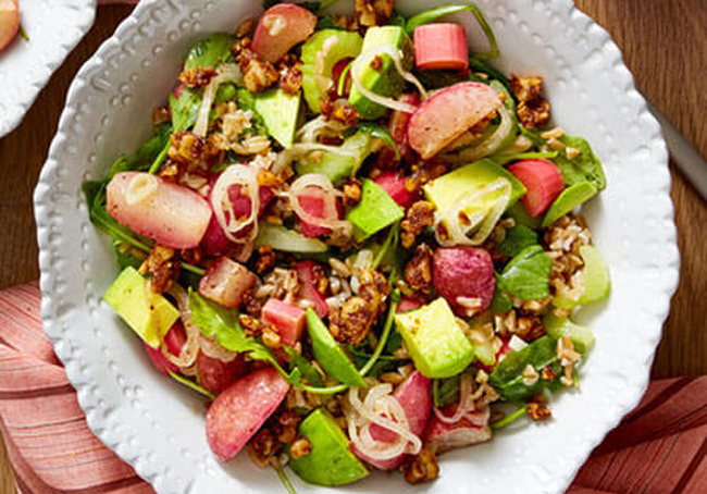 Blue Apron Farro and Pickled Rhubarb Salad