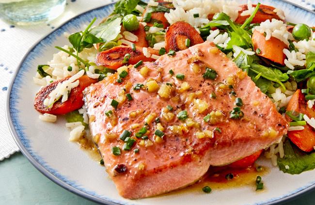 Salmon Rice on plate