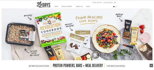 22 Day Nutrition homepage printscreen