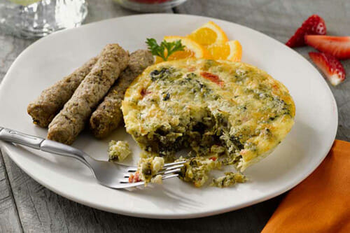 Artichoke Spinach and Roasted Red Pepper Frittata