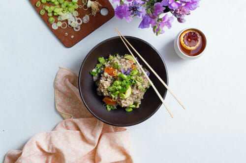 lemon eggplant nutmeg rice bowl
