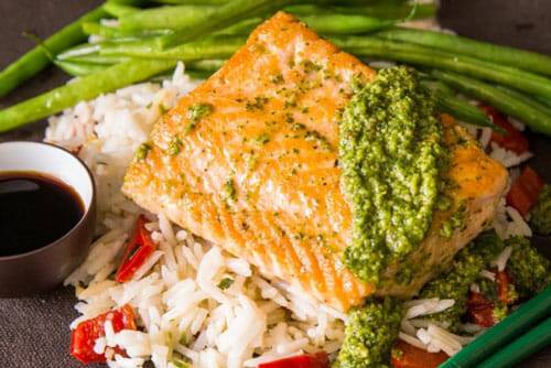 Seared Salmon & Chili Mint Pesto