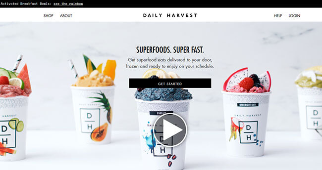 Daily Harvest Homepage
