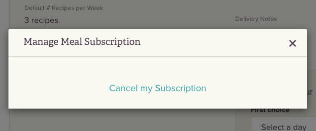 Cancel subscription popup sun basket