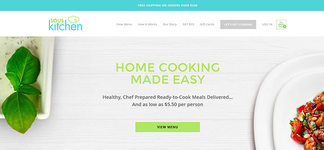 Sous Kitchen homepage