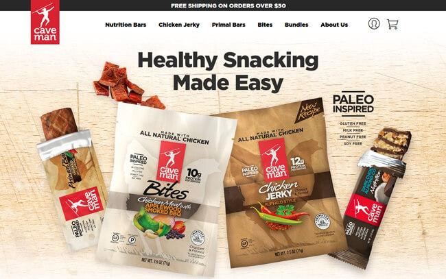 Caveman Foods homepage