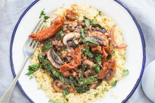 Sundried tomato mushrooms and lentils