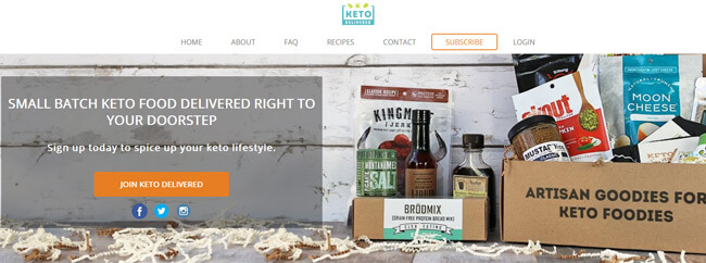 Keto Delivered homepage