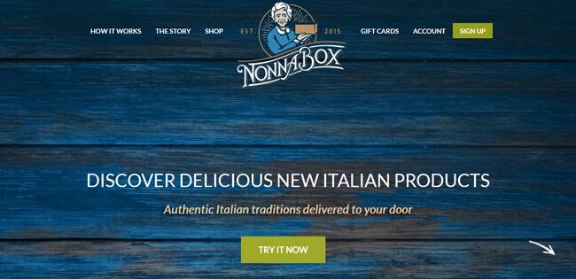 Nonna Box homepage