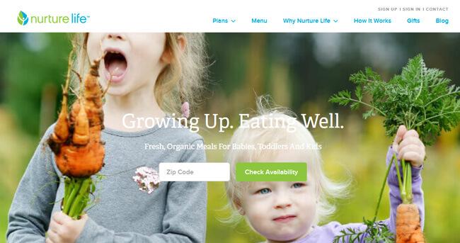 Nurture Life homepage