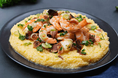 Wild Caught Shrimp & Aged White Cheddar Corn Grits