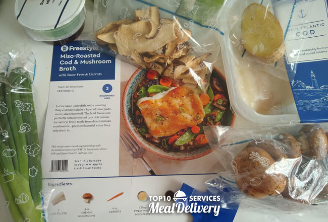 blue apron recipe card with ingredients