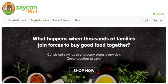 Zaycon Fresh homepage