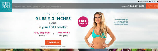South Beach Diet homepage
