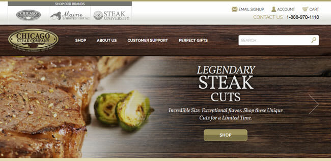 Chicago-Steak-Company homepage