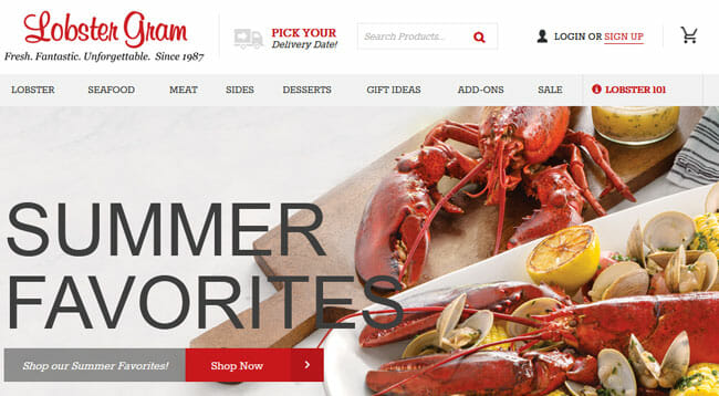 Lobster Gram homepage