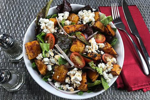 Butternut squash and feta cheese summer salad