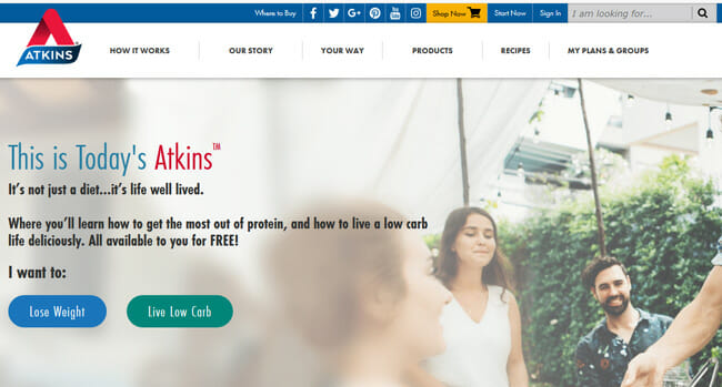 Atkins Meal Delivery homepage printscreen