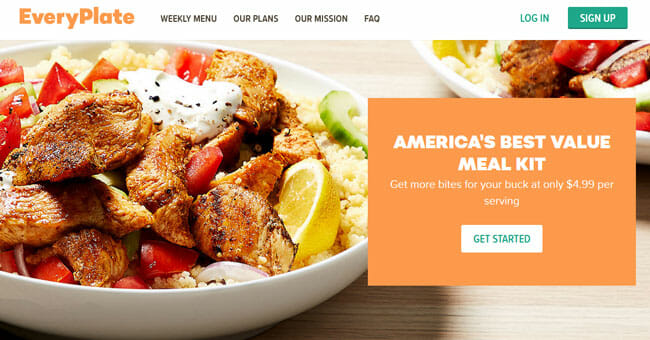 EveryPlate homepage screenshot