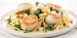 Home Chef Scallops with Lemon-Caper Pasta