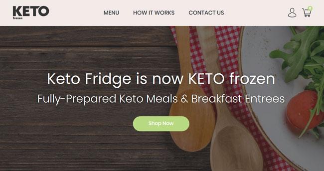 Keto Frozen printscreen homepage