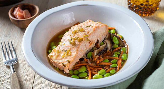Tovala Ginger Scallion Poached Salmon