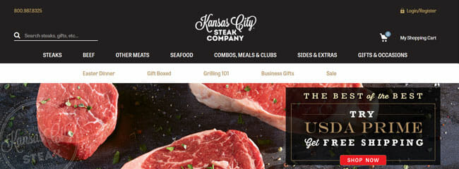 Kansas City Steaks printscreen homepage