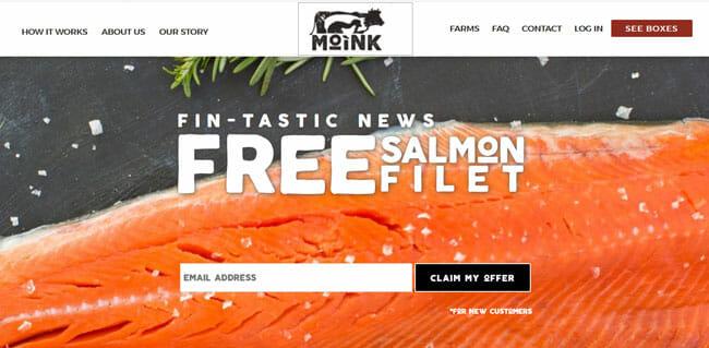 Moink printscreen homepage