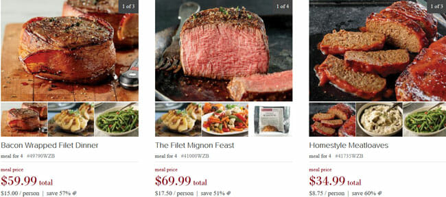 Omaha Steaks meals prices