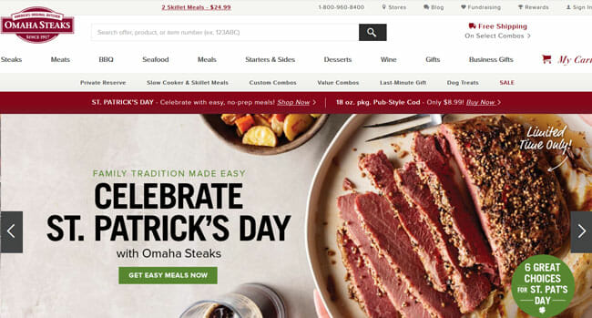 Omaha Steaks screenshoot homepage