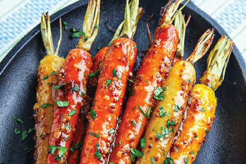 Harissa Maple Syrup Roasted Carrots
