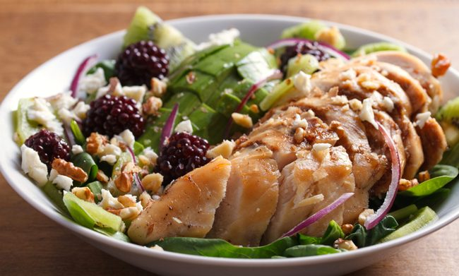 Kiwi blackberry balsamic chicken salad with avocado