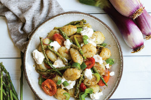 Spring Onion and Asparagus Gnocchi with Burrata