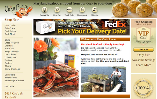 The Crab Place printscreen homepage