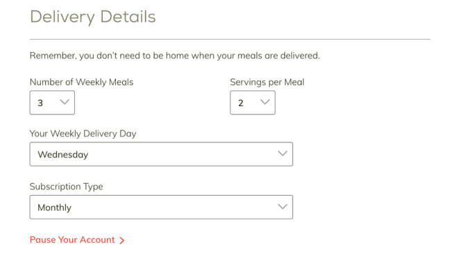 Home Chef delivery details