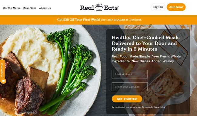 RealEats homepage printscreen
