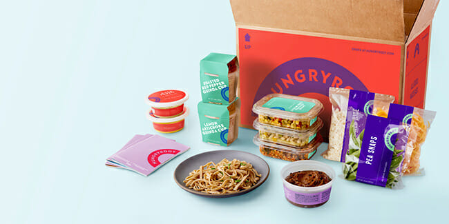Hungryroot box with ingredients